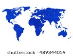 blue wold map on white... | Shutterstock . vector #489344059