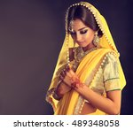 portrait of beautiful indian... | Shutterstock . vector #489348058