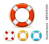 life buoy color icon set. ship... | Shutterstock .eps vector #489349204