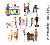 vector set of cartoon... | Shutterstock .eps vector #489353470