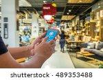 mobile payment  cashless... | Shutterstock . vector #489353488