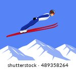 winter athletic sports ski... | Shutterstock .eps vector #489358264