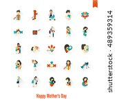 happy mothers day simple flat... | Shutterstock . vector #489359314