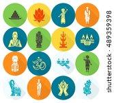 diwali. indian festival icons.... | Shutterstock . vector #489359398