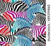 colorful zebra seamless pattern.... | Shutterstock .eps vector #489359860