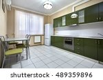 kitchen with appliances and a... | Shutterstock . vector #489359896