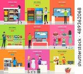 set of advertisement posters.... | Shutterstock .eps vector #489362068
