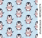 seamless pattern with penguin... | Shutterstock .eps vector #489362374