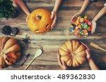 happy halloween  a mother ... | Shutterstock . vector #489362830