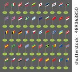 isometric flags icons in flat... | Shutterstock .eps vector #489363850