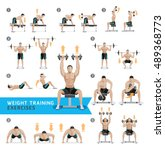 dumbbell exercises and workouts ... | Shutterstock .eps vector #489368773