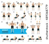 dumbbell exercises and workouts ... | Shutterstock .eps vector #489368779