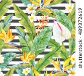 watercolor tropical pattern ... | Shutterstock . vector #489372619
