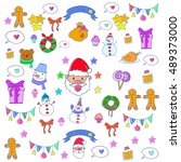doodle of christmas set object... | Shutterstock .eps vector #489373000