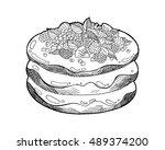 raspberry pancakes for... | Shutterstock .eps vector #489374200
