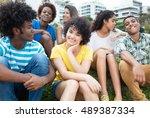 group of happy latin  caucasian ... | Shutterstock . vector #489387334
