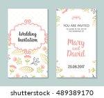 wedding set. romantic vector... | Shutterstock .eps vector #489389170
