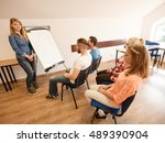 group of students taking a part ... | Shutterstock . vector #489390904