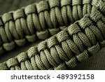 Closeup Braided Green Paracord...