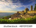 tuscany  volterra town skyline  ... | Shutterstock . vector #489395389
