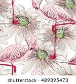 vector sketch of a flamingo... | Shutterstock .eps vector #489395473