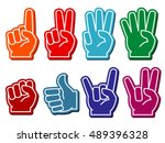 foam fingers vector set.... | Shutterstock .eps vector #489396328