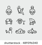 man driving car vector icons | Shutterstock .eps vector #489396340