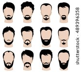 mens hipster hairstyle ... | Shutterstock .eps vector #489396358