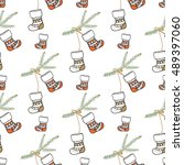 christmas seamless pattern with ... | Shutterstock .eps vector #489397060