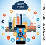 internet of things concept and... | Shutterstock .eps vector #489402568