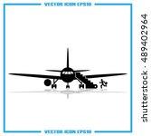 plane and passenger icon vector ... | Shutterstock .eps vector #489402964