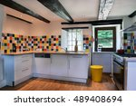 french kitchen interior with... | Shutterstock . vector #489408694