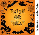 halloween background. trick or... | Shutterstock .eps vector #489410644