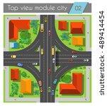 highway junction roads with... | Shutterstock .eps vector #489414454