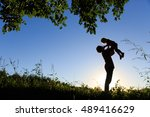 father and little daughter... | Shutterstock . vector #489416629