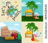 travel tourism icons vector... | Shutterstock .eps vector #489428440