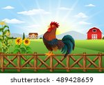 cartoon rooster crowing at farm ... | Shutterstock .eps vector #489428659