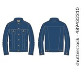 men classic denim jacket... | Shutterstock .eps vector #489432310