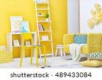 modern interior of living room | Shutterstock . vector #489433084