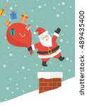 santa claus with red big bag... | Shutterstock .eps vector #489435400