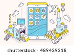 vector illustration of phone... | Shutterstock .eps vector #489439318