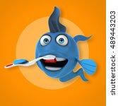 fun fish   3d illustration   Shutterstock . vector #489443203