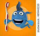 fun fish   3d illustration   Shutterstock . vector #489443233
