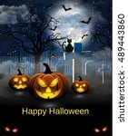 spooky card for halloween. blue ... | Shutterstock .eps vector #489443860