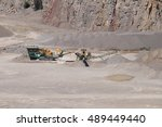 stone crusher in a surface mine. | Shutterstock . vector #489449440