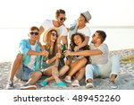 group of friends hanging out... | Shutterstock . vector #489452260