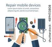 repair mobile phone. vector... | Shutterstock .eps vector #489453808