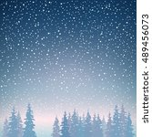 snowfall in the forest  snow... | Shutterstock .eps vector #489456073