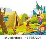cartoon scene with kids having...   Shutterstock . vector #489457204
