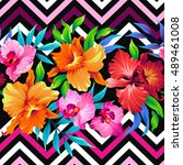 vector tropical leaves and... | Shutterstock .eps vector #489461008